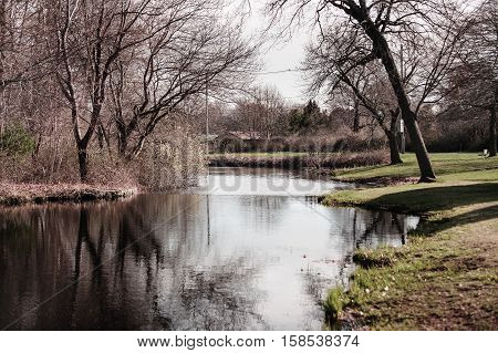 Placid stream in early spring along Mill Road in Fairhaven Massachusetts