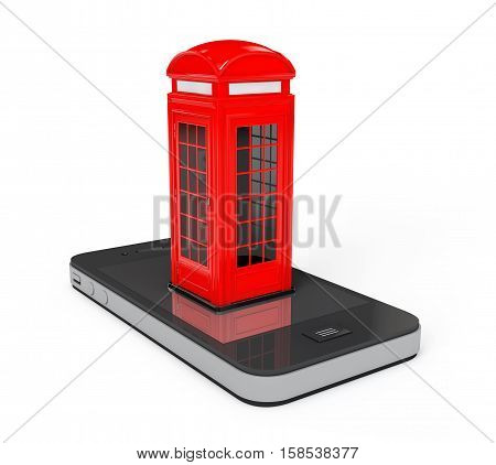 Classic British Red Phone Booth over Mobile Phone on a white background. 3d Rendering