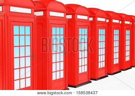 Classic British Red Phone Booth on a white background. 3d Rendering