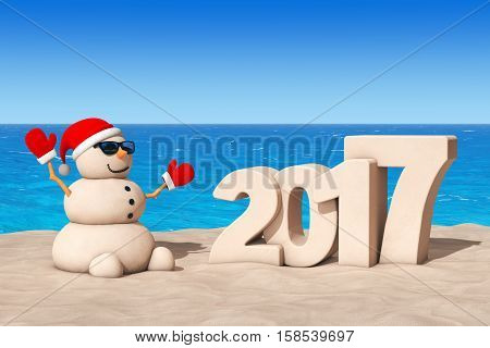 Sandy Christmas Snowman at Sunny Beach with 2017 Ney Year Sign extreme closeup. 3d Rendering