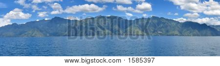 Lake With Volcanos In The Background, Lake Atitlan, Guatemala, Panorama