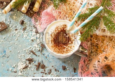 Coffee With Whipped Cream, A Cup Of Cappuccino. Christmas Frame. Copy Space. Top View.