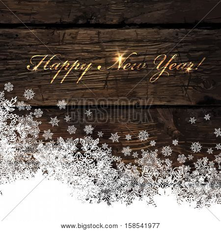 Happy New Year! Golden Greeting on Wooden Background. Snowflakes border isolated by downside. Easy to use in design projects for holiday, as is postcard, invitations, covers, posters, wallpapers...
