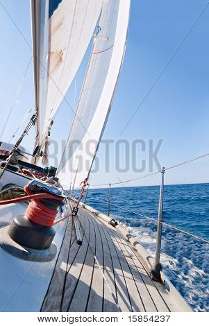 Yacht Sailing In The Sea