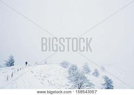 Snow moutain landscape during winter at Puy-du-Pariou in Auvergne France
