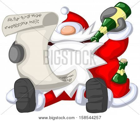Santa Claus reading, Christmas party celebration humorous cartoon, vector, isolated