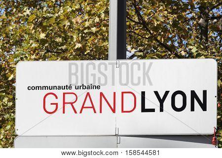 Metropolis of Lyon panel called Grand Lyon in French