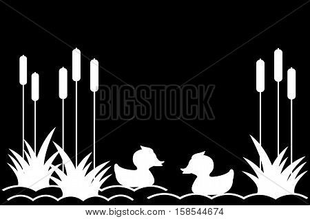 .Ducklings on the lake among the reeds.