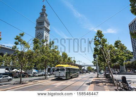 San Francisco,California,USA - July 11, 2015 : Historic streetcar at Embarcadero