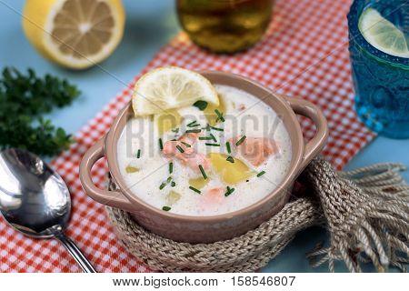 Lohikeitto Finnish milk salmon and potato soup poster