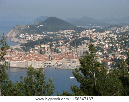 Od city of Dubrovnik in May seen from hill, Croatia