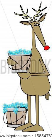 Illustration of a deer standing upright holding a bucket of bubbly water.