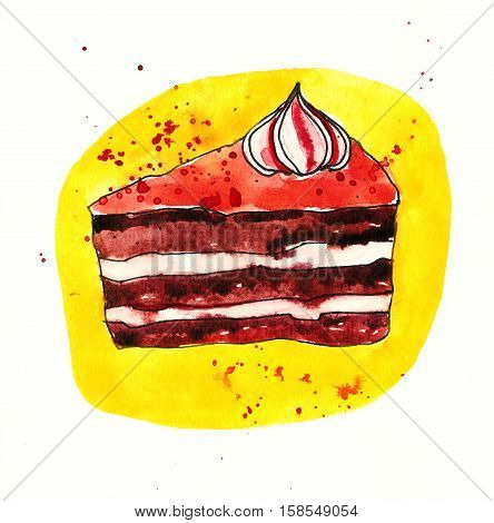 Layered chocolate cherry cake with pink topper. Sketch style watercolor illustration isolated on white background