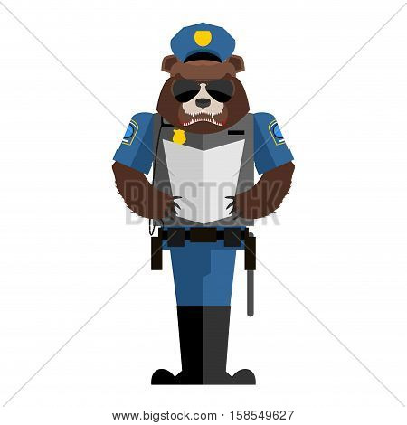 Bear Policeman. Wild Animal Police Form. Cap And Body Armor. Grizzly In Service Of Law. Cop Forest P