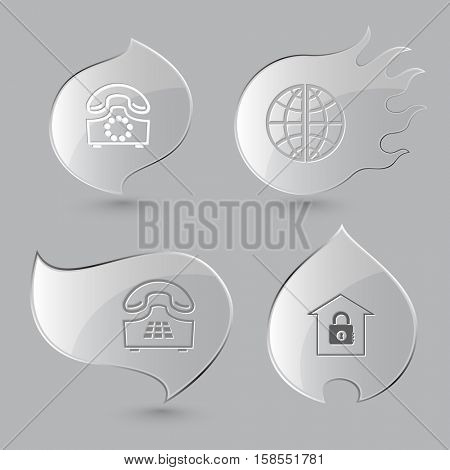 4 images: rotary phone, globe, push-button telephone, bank. Business set. Glass buttons on gray background. Fire theme. Vector icons.