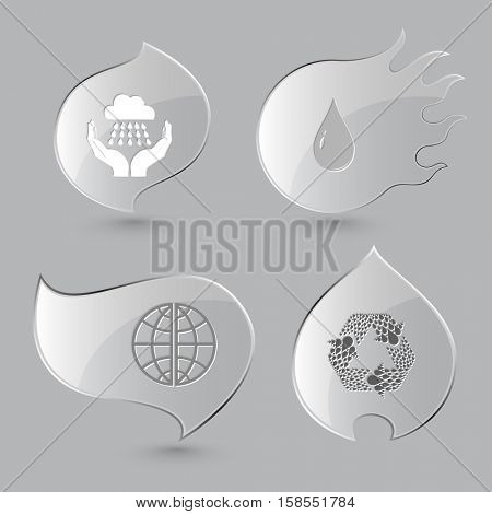 4 images: weather in hands, drop, globe, recycle symbol. Weather set. Glass buttons on gray background. Fire theme. Vector icons.