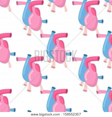 Heart Anatomy Body Seamless Pattern. Atrial And Ventricular Pattern. Veins And Arteries Background.