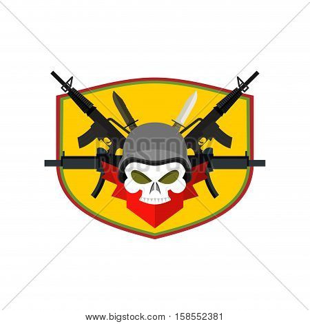 Army Logo Skull. Soldiers Badge. Military Emblem. Wings And Weapons. Eagle And Guns. Awesome Sign Fo