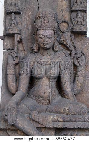 KOLKATA, INDIA - FEBRUARY 09:  Seated Tara, from 10th century found in Khondalite Lalitagiri, Odisha now exposed in the Indian Museum in Kolkata, West Bengal, India on February 09, 2016