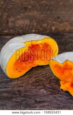 Close up of a Queensland Blue pumpkin