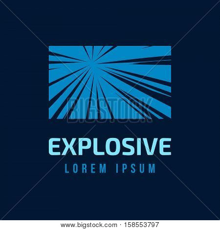 Abstract vector rays on blue background. Explosive illustration with dynamic shapes.  Sparkle logotype template. Holiday firework with text. Dynamite burst. Dynamic blast elements.