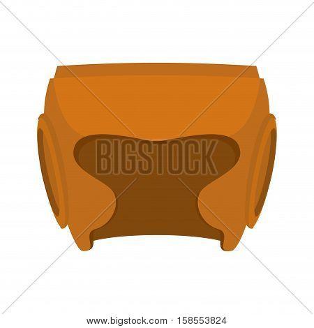 Boxing Helmet Orange. Boxer Mask Isolated. Spor Accessory For Training