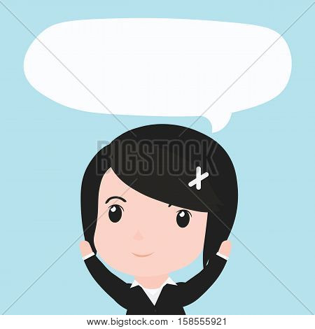 Business Woman With Speech Bubble Ides, Cartoon