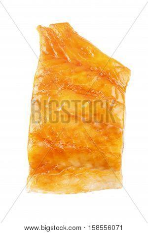 smoked scottish haddock fillet isolated on white background