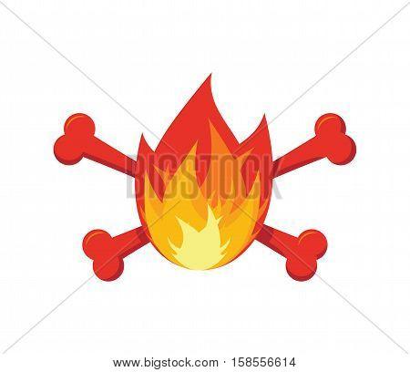 Fire And Bones Logo For Firemen. Flames And Crossbones Logo