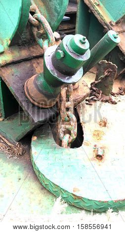 close up view Anchor chain on the tug boat