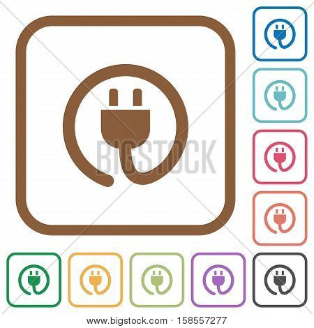 Power cord simple icons in color rounded square frames on white background