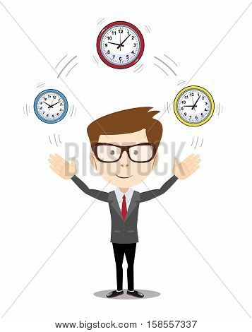 Abstract Businessman holding Time. Stock vector illustration