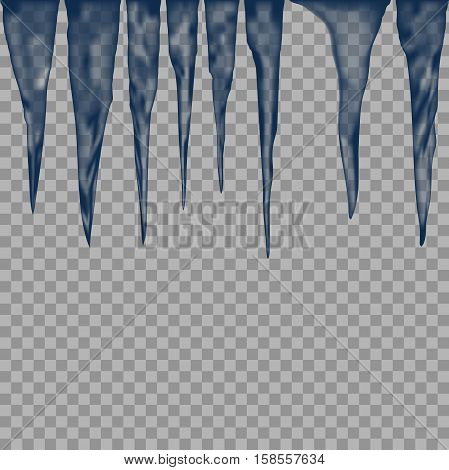 icicle elements. set of Isolated icy icicle on a transparent background. Vector ice elements for design and decoration of christmas greeting cards.