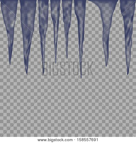 Hanging translucent icicles in blue colors on transparent background. vector illustration of icicles. winter elements for background and design.