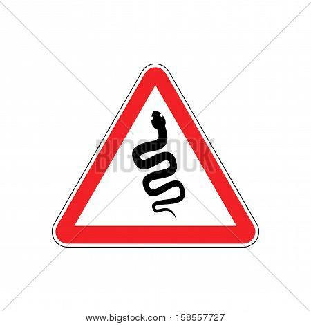 Snake Warning Sign Red. Venomous Serpent Hazard Attention Symbol. Danger Road Sign Triangle Reptile
