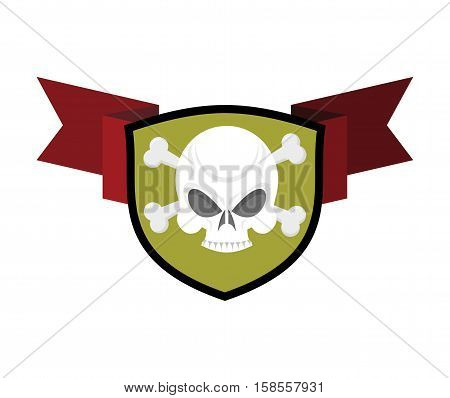 Skull And Shield. Crossed Bones And Skeleton Head Emblem. Heraldry Sign.