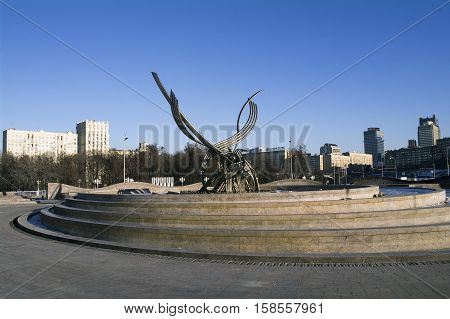 MOSCOW RUSSIA - NOVEMBER 2016 - The sculpture Abduction of Europe Belgian sculptor Olivier Strebelle in Europe Square