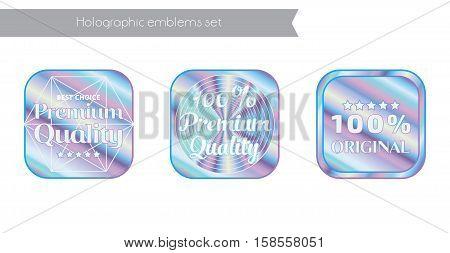 Holographic set square shapes illustration sticker quality emblem