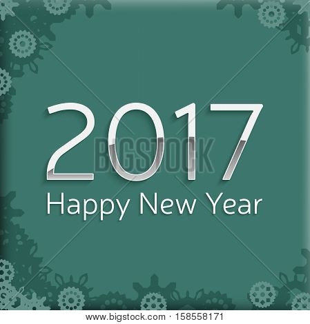 happy new year 2017 text design. vector greeting illustration with silver numbers and abstract snowflake