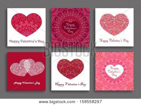 Valentine Cards set. Vector romantic greetings with texture heart shape. Weave love symbols. Luxury intricate design elements. Oriental mandala style. Intricate background. Valentines day collection.