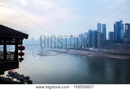 view of morden city in chongqing china by river