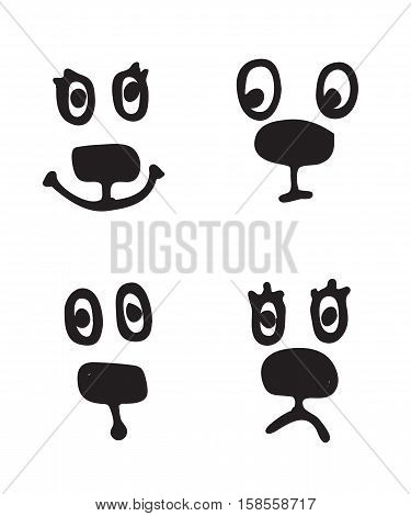Set of hand drawn vector emoticons. Collection of sketched smileys with a different facial expression and emotion isolated on white