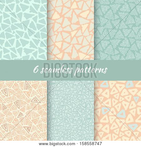 Hand Drawn Seamless Triangle Pattern In Retro Style. Vintage Colors Delta Background Set. Trigon Squiggle Texture Organic Geometric Design