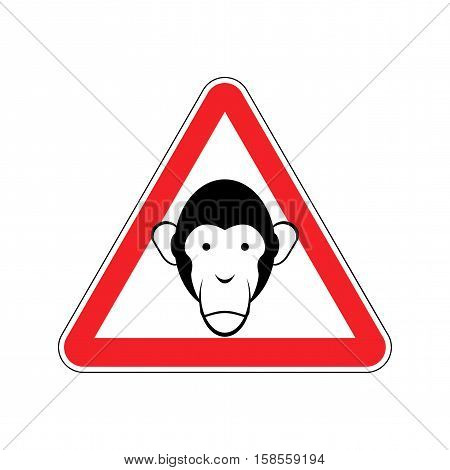 Monkey Warning Sign Red. Primacy Of Hazard Attention Symbol. Danger Road Sign Triangle Ape
