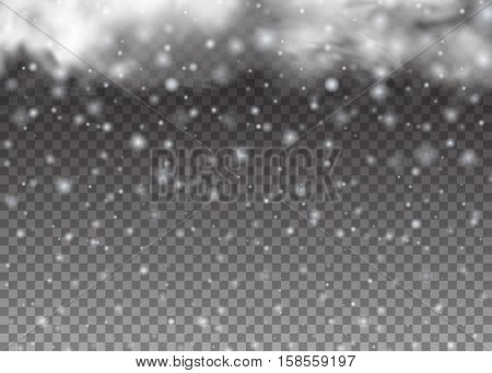 Christmas background. Falling beautiful snow isolated on transparent background. Snowflakes, snowfall vector illustration. The Magic Christmas Cloud.