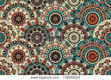 Scales seamless pattern from flower mandalas. Vector floral background. Elaborate floral ornament for fabric print, furniture, wallpaper, greeting card. Unusual round design elements boho decoration.