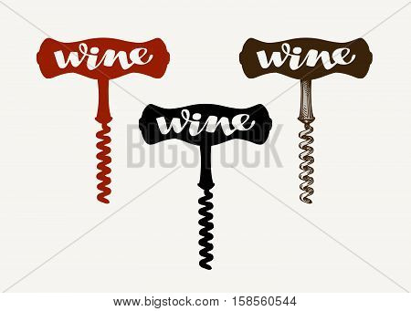 Wine vector logo. Corkscrew icon or symbol isolated on white background