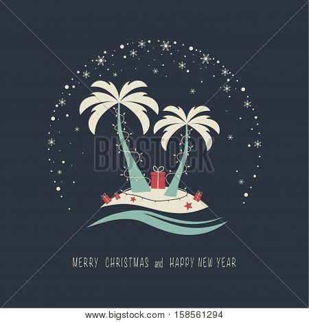 The cover design. Depicts two palm trees, ocean, garland of candles, gift box on the beach , starfish and snowflakes on the dark background. The phrase merry christmas and happy new year.