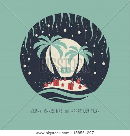 The cover design. Depicts two palm trees, ocean, presents on the sand, a garland of balls of snow and moon in the background. The phrase merry christmas and happy new year.