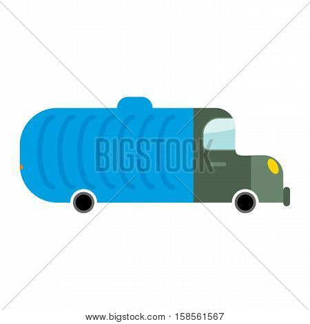 Grbage Truck Isolated. Trash Automobile On White Background. Junk Car In Cartoon Style